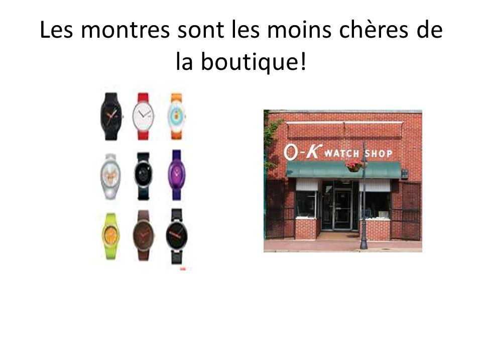Les montres sont les moins chères de la boutique!