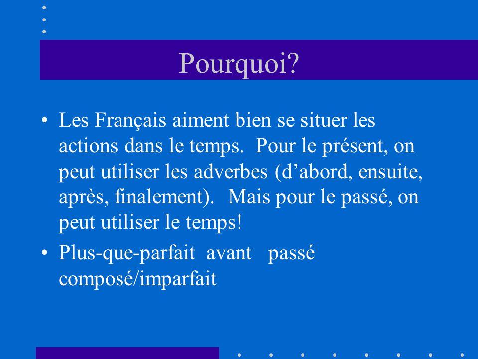 Pourquoi? Les Français aiment bien se situer les actions dans le temps. Pour le présent, on peut utiliser les adverbes (dabord, ensuite, après, finale