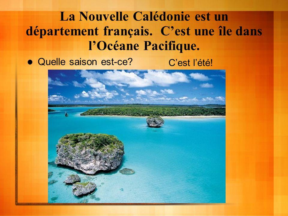 La Nouvelle Calédonie est un département français. Cest une île dans lOcéane Pacifique. Quelle saison est-ce? Cest lété!