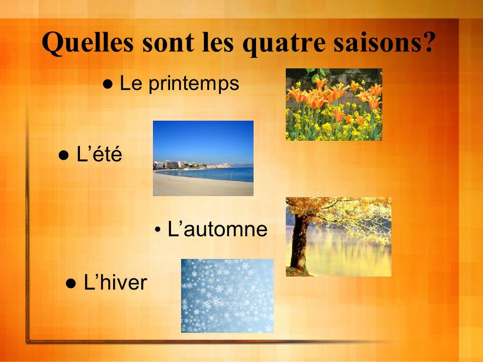 Quelles sont les quatre saisons? Le printemps Lété Lautomne Lhiver