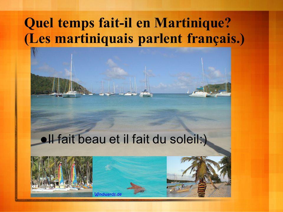 Quel temps fait-il en Martinique? (Les martiniquais parlent français.) Il fait beau et il fait du soleil:)