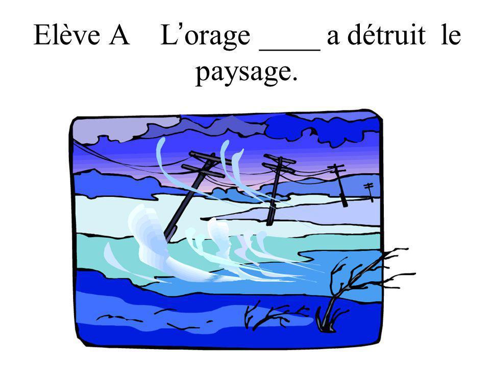 Elève A L orage ____ a détruit le paysage.