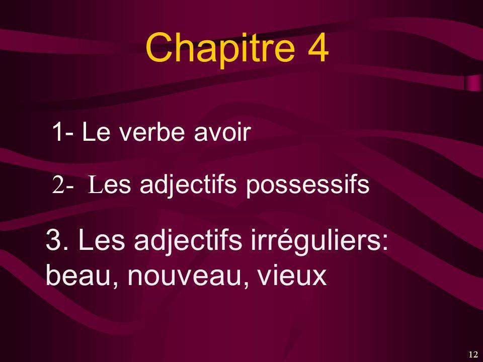 12 Chapitre 4 1- Le verbe avoir 2- L es adjectifs possessifs 3. Les adjectifs irréguliers: beau, nouveau, vieux