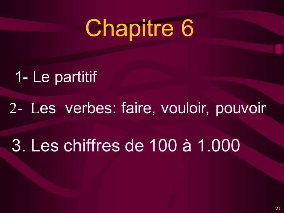 21 Chapitre 6 1- Le partitif 2- L es verbes: faire, vouloir, pouvoir 3. Les chiffres de 100 à 1.000
