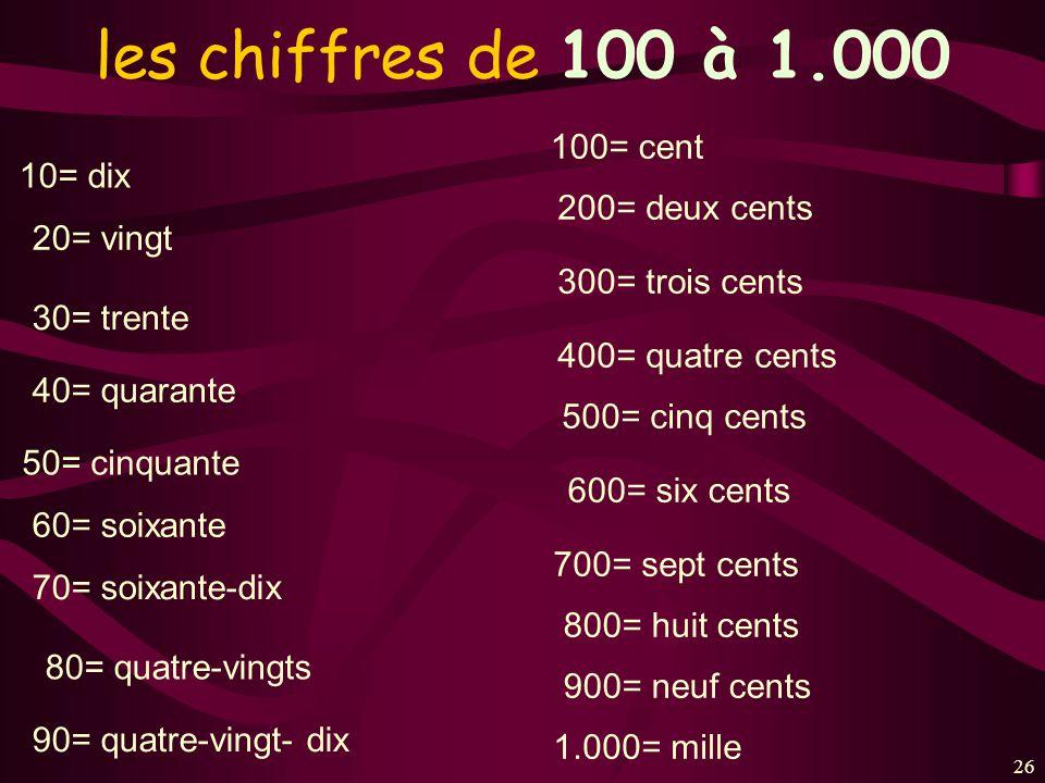 26 les chiffres de 100 à 1.000 10= dix 20= vingt 30= trente 40= quarante 50= cinquante 60= soixante 70= soixante-dix 80= quatre-vingts 90= quatre-ving