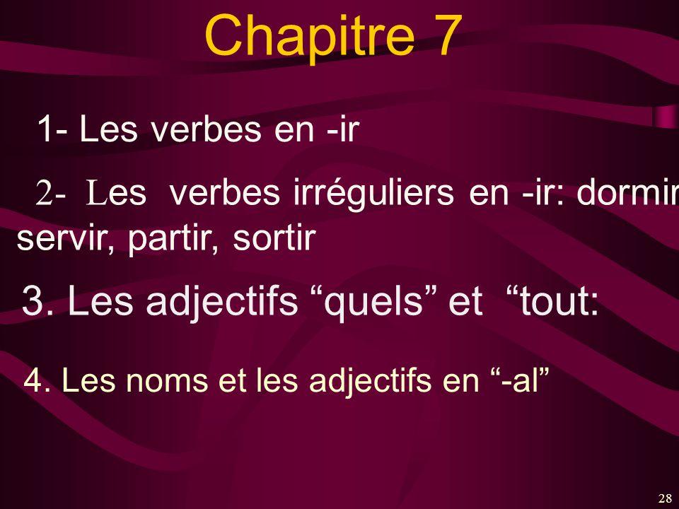 28 Chapitre 7 1- Les verbes en -ir 2- L es verbes irréguliers en -ir: dormir, servir, partir, sortir 3. Les adjectifs quels et tout: 4. Les noms et le