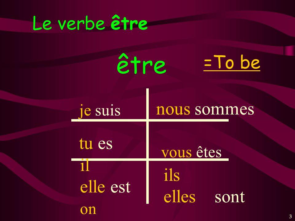 33 Le verbe être =To be être je suis tu es il elle est on nous sommes vous êtes ils elles sont