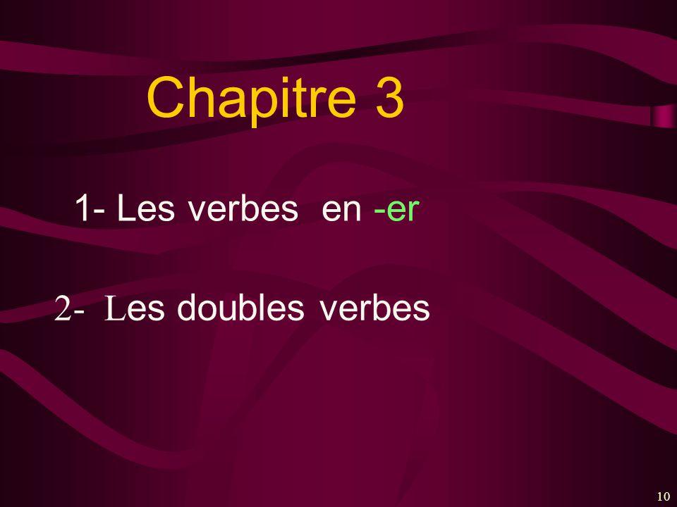 10 Chapitre 3 1- Les verbes en -er 2- L es doubles verbes