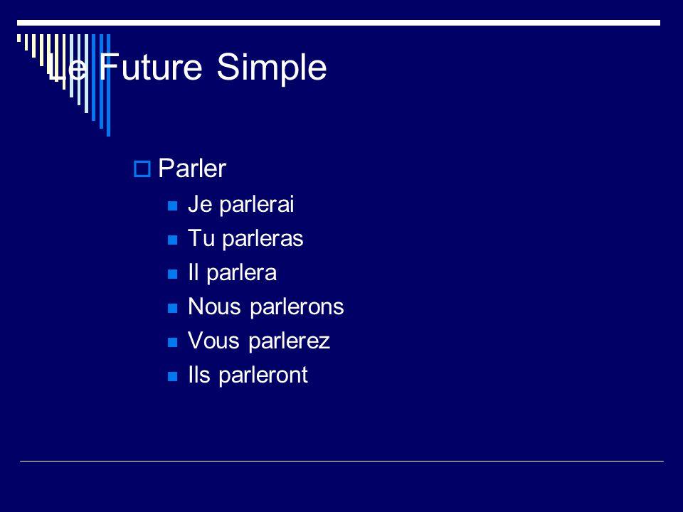 Le Future Simple Parler Je parlerai Tu parleras Il parlera Nous parlerons Vous parlerez Ils parleront