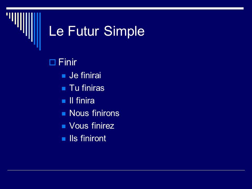 Le Futur Simple Attrendre Re verbs –drop the final –e Jattendrai Tu attendras Il attendra Nous attendrons Vous attendrez Ils attendront