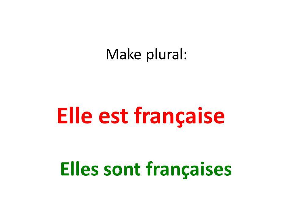 Make plural: Elle est française Elles sont françaises