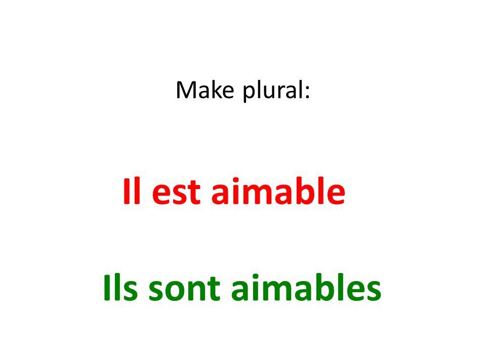 Make plural: Il est aimable Ils sont aimables