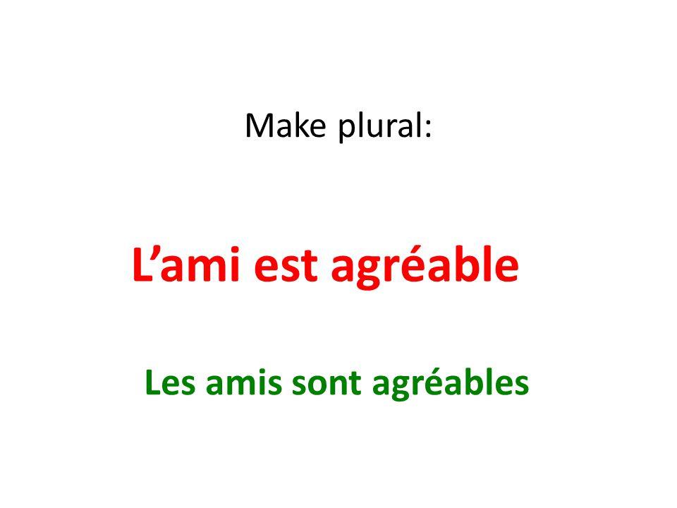 Make plural: Lami est agréable Les amis sont agréables