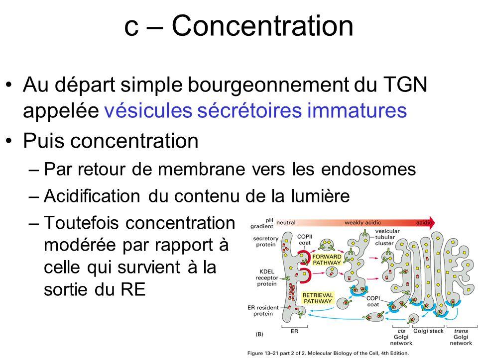 17 c – Concentration Au départ simple bourgeonnement du TGN appelée vésicules sécrétoires immatures Puis concentration –Par retour de membrane vers les endosomes –Acidification du contenu de la lumière –Toutefois concentration modérée par rapport à celle qui survient à la sortie du RE