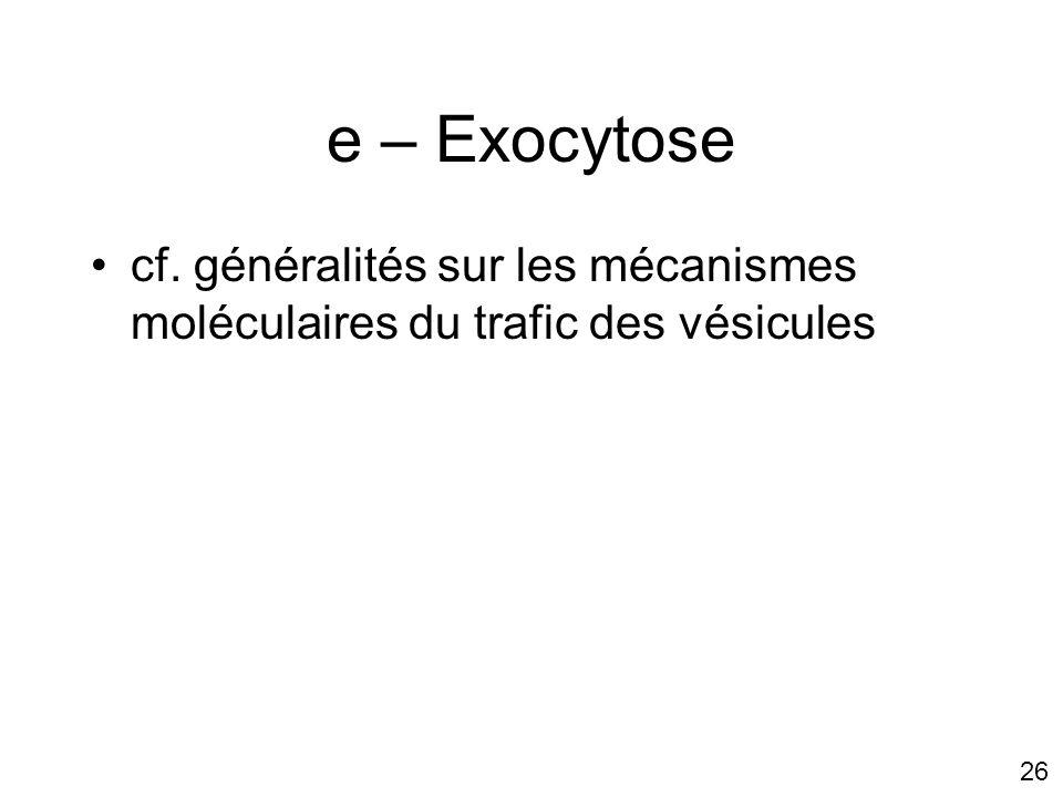 26 e – Exocytose cf. généralités sur les mécanismes moléculaires du trafic des vésicules