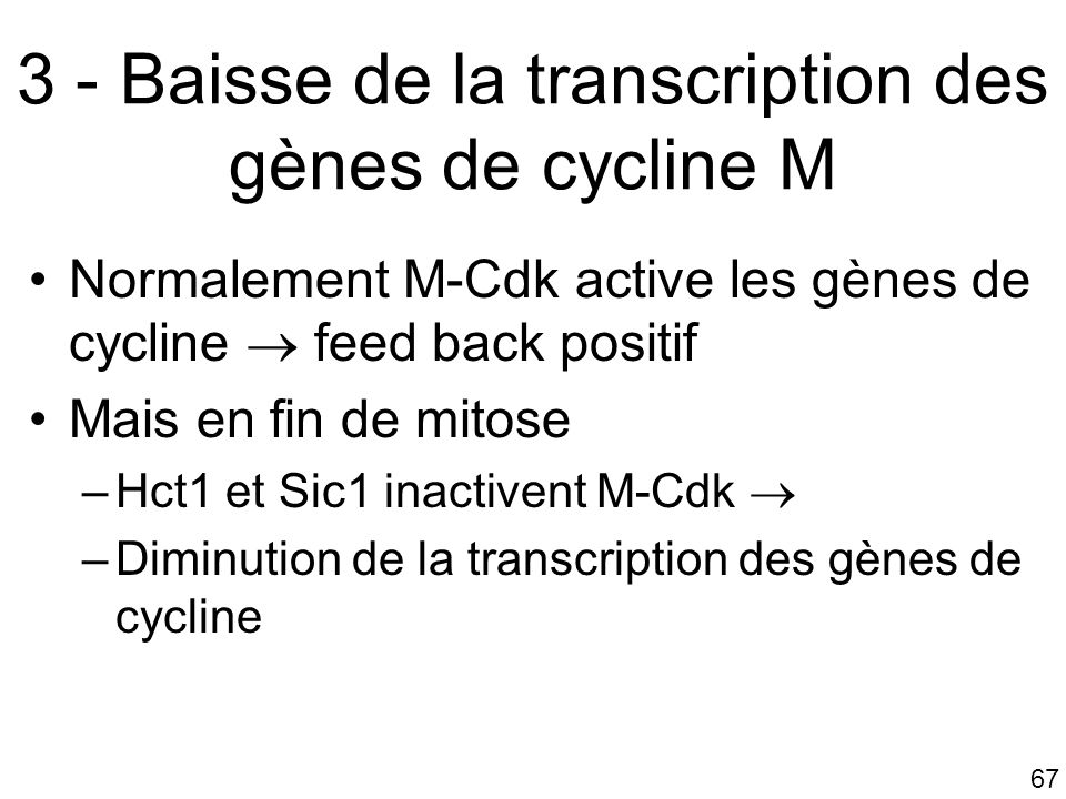 67 3 - Baisse de la transcription des gènes de cycline M Normalement M-Cdk active les gènes de cycline feed back positif Mais en fin de mitose –Hct1 et Sic1 inactivent M-Cdk –Diminution de la transcription des gènes de cycline