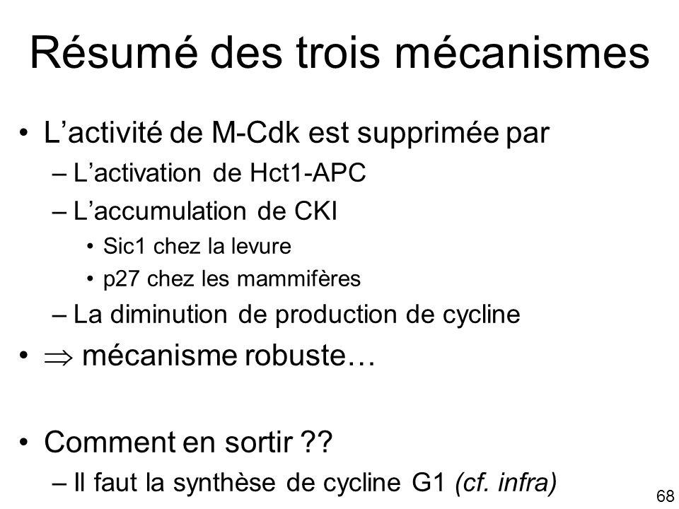 68 Résumé des trois mécanismes Lactivité de M-Cdk est supprimée par –Lactivation de Hct1-APC –Laccumulation de CKI Sic1 chez la levure p27 chez les ma