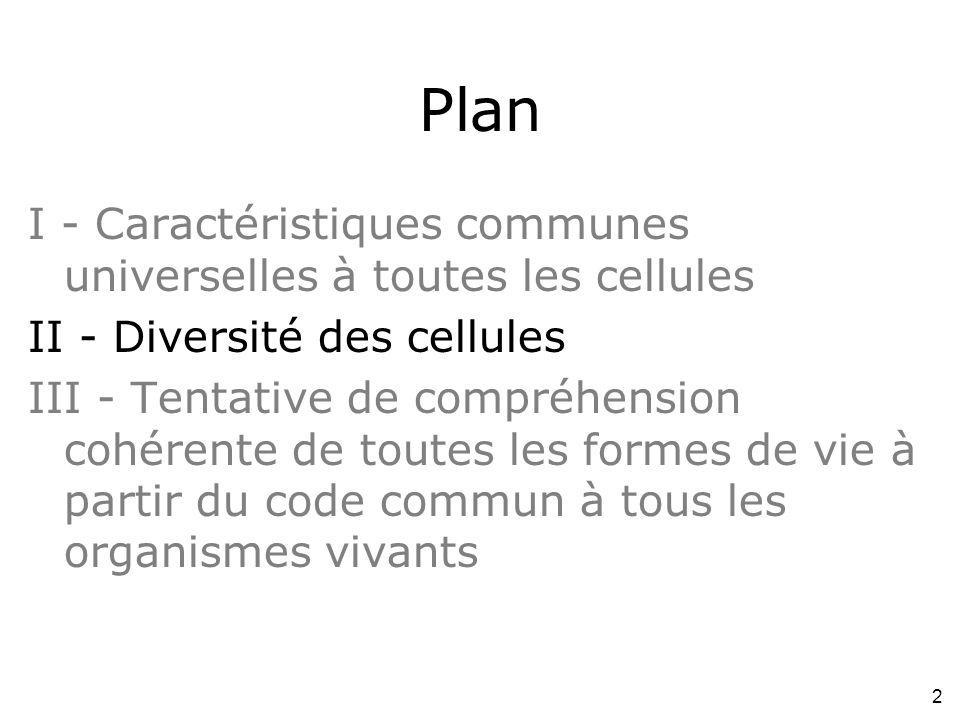 2 Plan I - Caractéristiques communes universelles à toutes les cellules II - Diversité des cellules III - Tentative de compréhension cohérente de toutes les formes de vie à partir du code commun à tous les organismes vivants