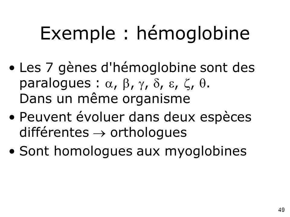 49 Exemple : hémoglobine Les 7 gènes d hémoglobine sont des paralogues :,,,,,,.