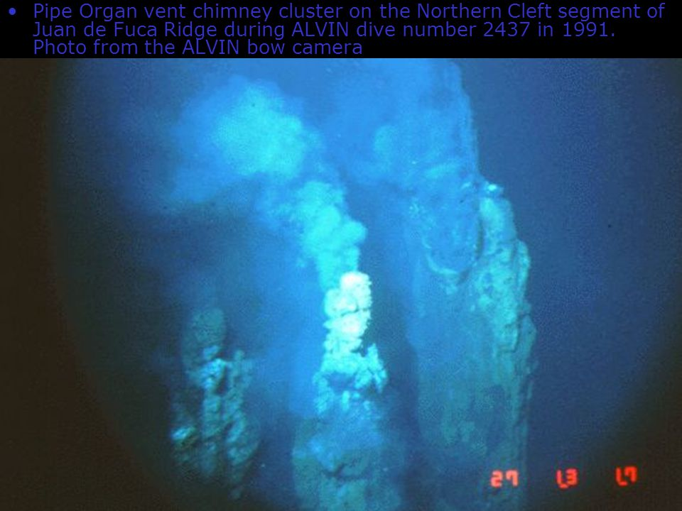 8 http://www.pmel.noaa.gov/v ents/chemistry/image.html Pipe Organ vent chimney cluster on the Northern Cleft segment of Juan de Fuca Ridge during ALVI