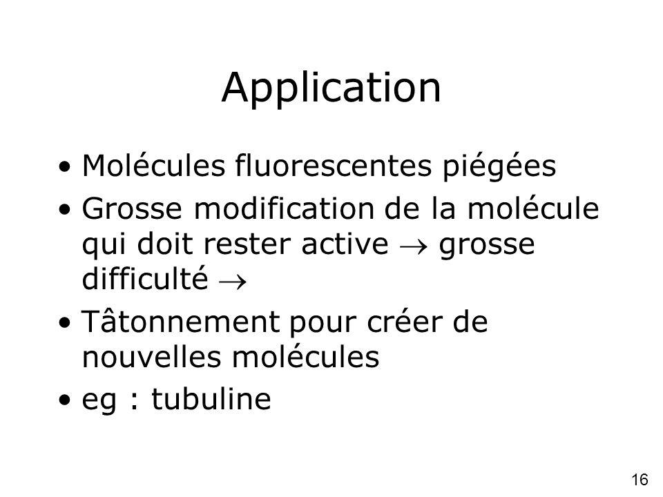 16 Application Molécules fluorescentes piégées Grosse modification de la molécule qui doit rester active grosse difficulté Tâtonnement pour créer de nouvelles molécules eg : tubuline