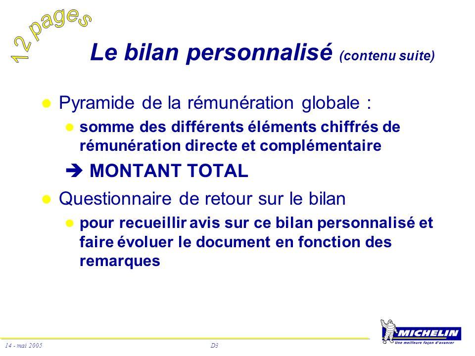 D3 14 - mai 2005 Le bilan personnalisé (contenu suite) Pyramide de la rémunération globale : somme des différents éléments chiffrés de rémunération di