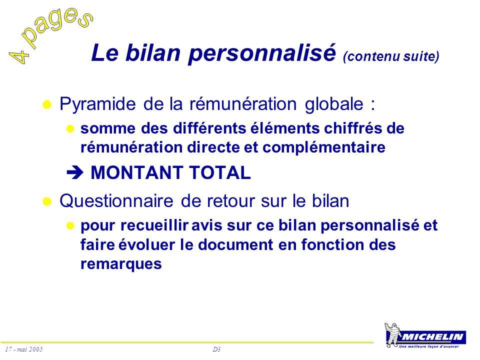 D3 17 - mai 2005 Le bilan personnalisé (contenu suite) Pyramide de la rémunération globale : somme des différents éléments chiffrés de rémunération di