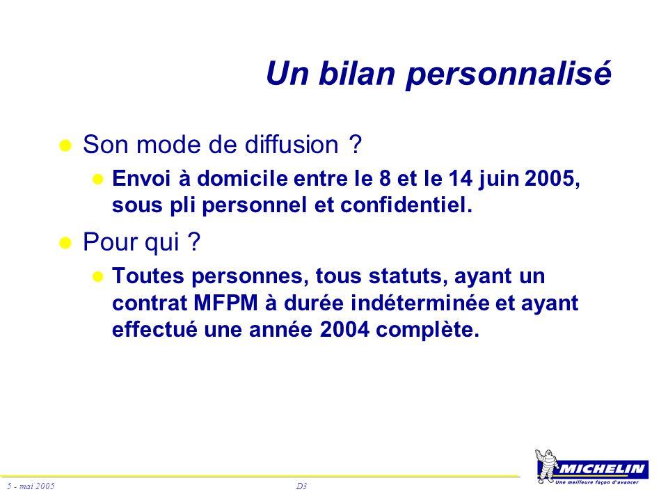 D3 5 - mai 2005 Un bilan personnalisé Son mode de diffusion ? Envoi à domicile entre le 8 et le 14 juin 2005, sous pli personnel et confidentiel. Pour