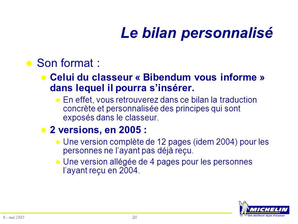 D3 6 - mai 2005 Le bilan personnalisé Son format : Celui du classeur « Bibendum vous informe » dans lequel il pourra sinsérer. En effet, vous retrouve