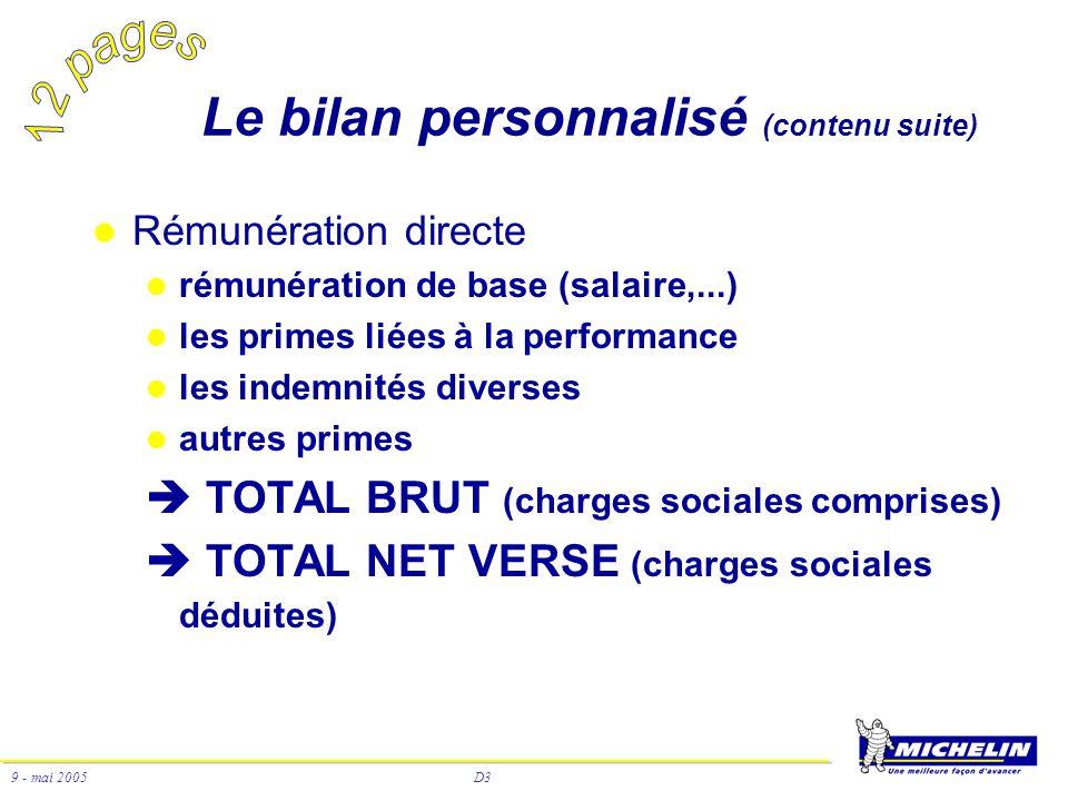 D3 9 - mai 2005 Rémunération directe rémunération de base (salaire,...) les primes liées à la performance les indemnités diverses autres primes TOTAL