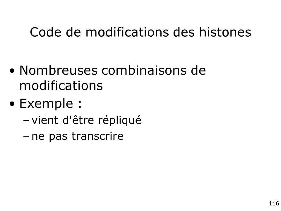 116 Code de modifications des histones Nombreuses combinaisons de modifications Exemple : –vient d être répliqué –ne pas transcrire