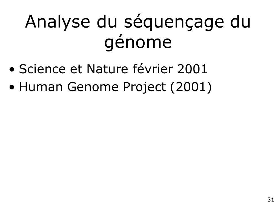 31 Analyse du séquençage du génome Science et Nature février 2001 Human Genome Project (2001)