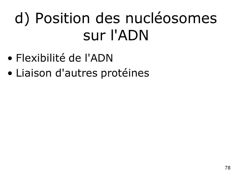 78 d) Position des nucléosomes sur l ADN Flexibilité de l ADN Liaison d autres protéines