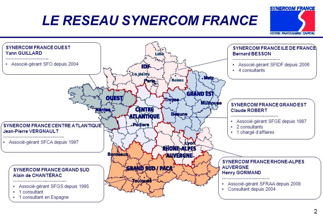 2 SYNERCOM FRANCE CENTRE ATLANTIQUE Jean-Pierre VERGNAULT ---------------------------------------- Associé-gérant SFCA depuis 1997 LE RESEAU SYNERCOM FRANCE SYNERCOM FRANCE OUEST Yann GUILLARD ---------------------------- Associé-gérant SFO depuis 2004 SYNERCOM FRANCE ILE DE FRANCE Bernard BESSON ------------------------------- Associé-gérant SFIDF depuis 2006 4 consultants SYNERCOM FRANCE GRAND EST Claude ROBERT ------------------------------- Associé-gérant SFGE depuis 1987 2 consultants 1 chargé daffaires SYNERCOM FRANCE RHONE-ALPES AUVERGNE Henry GORMAND ------------------------------- Associé-gérant SFRAA depuis 2008 Consultant depuis 2004 SYNERCOM FRANCE GRAND SUD Alain de CHANTÉRAC ----------------------------------- Associé-gérant SFGS depuis 1995 1 consultant 1 consultant en Espagne