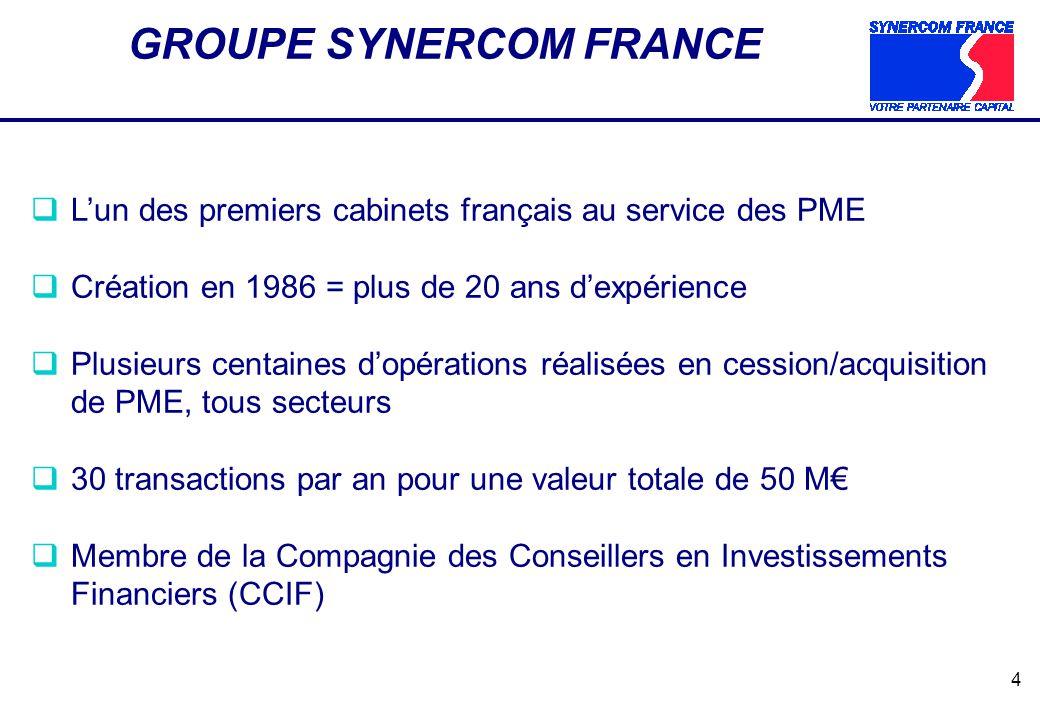 4 GROUPE SYNERCOM FRANCE Lun des premiers cabinets français au service des PME Création en 1986 = plus de 20 ans dexpérience Plusieurs centaines dopér