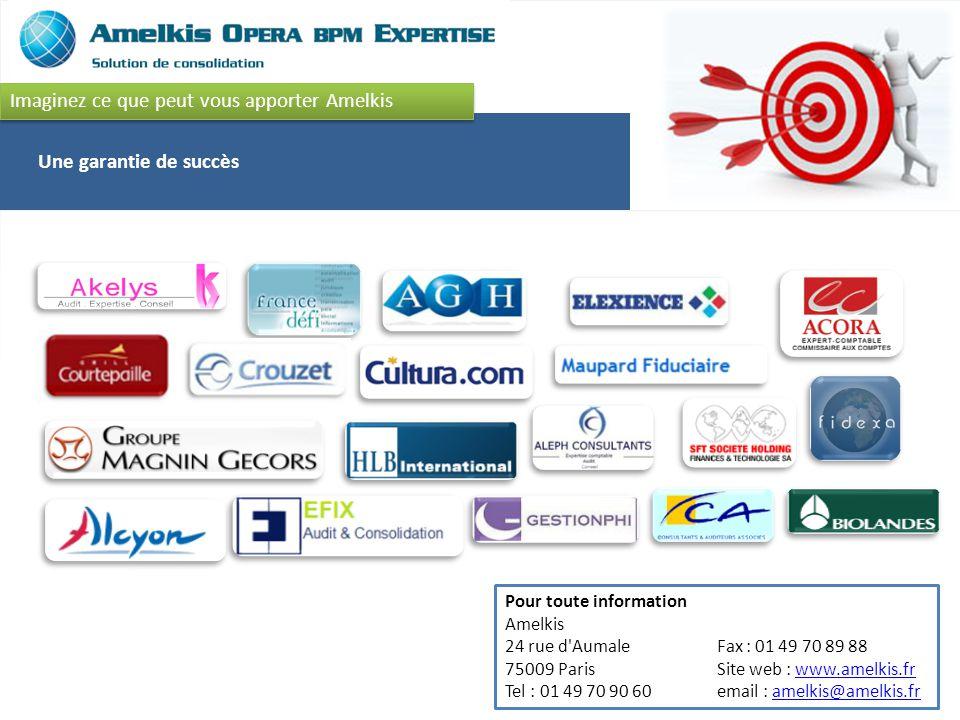 Une garantie de succès Imaginez ce que peut vous apporter Amelkis Pour toute information Amelkis 24 rue d Aumale 75009 Paris Tel : 01 49 70 90 60 Fax : 01 49 70 89 88 Site web : www.amelkis.fr email : amelkis@amelkis.frwww.amelkis.framelkis@amelkis.fr