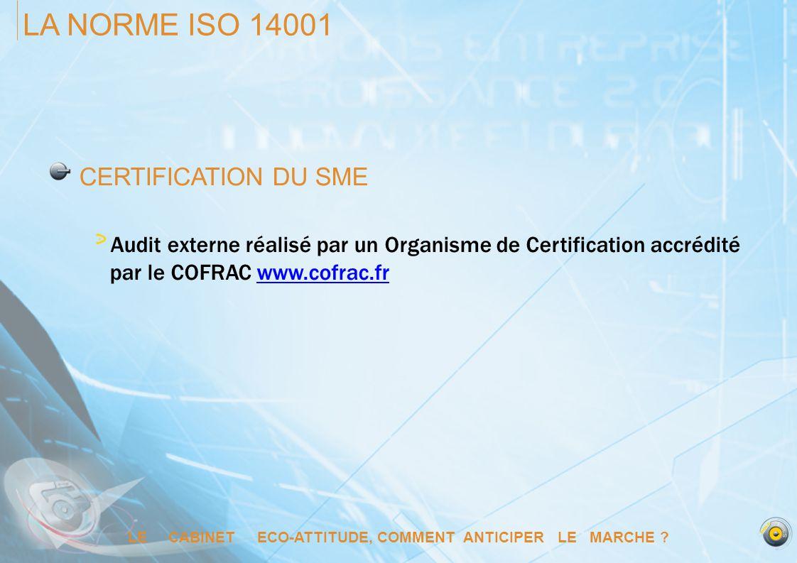 LE CABINET ECO-ATTITUDE, COMMENT ANTICIPER LE MARCHE ? LA NORME ISO 14001 CERTIFICATION DU SME Audit externe réalisé par un Organisme de Certification
