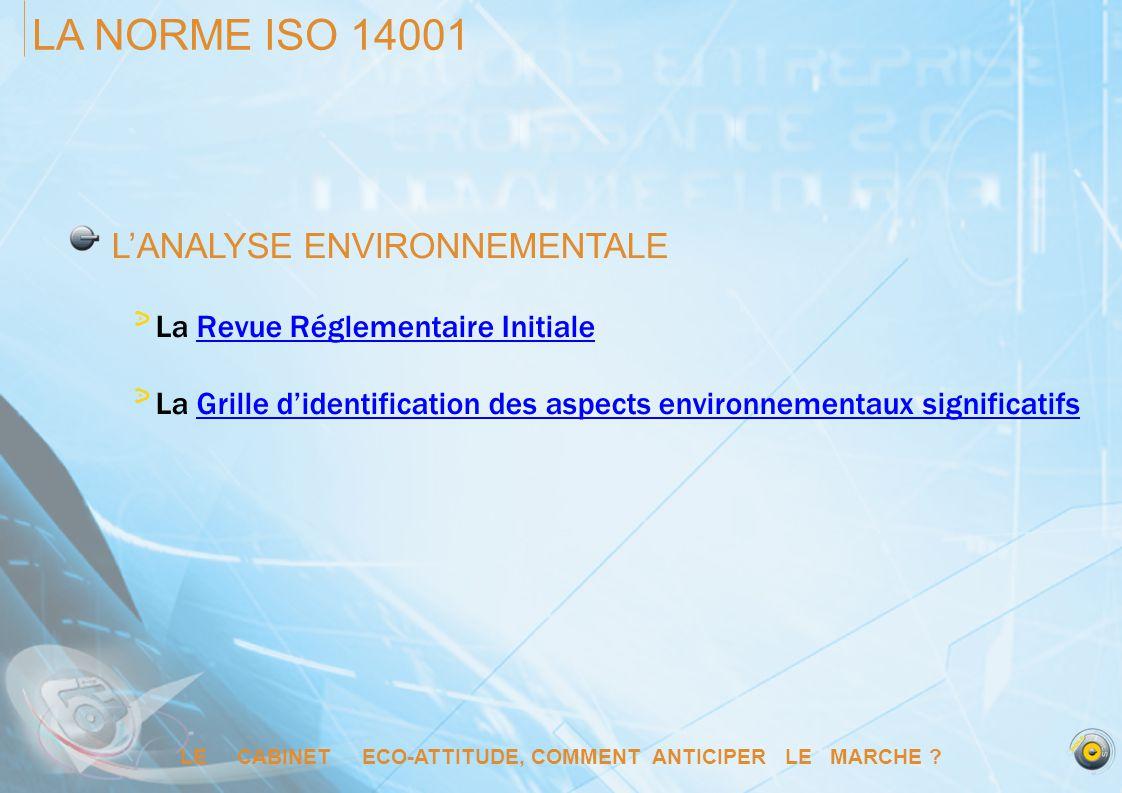 LE CABINET ECO-ATTITUDE, COMMENT ANTICIPER LE MARCHE ? LA NORME ISO 14001 LANALYSE ENVIRONNEMENTALE La Revue Réglementaire InitialeRevue Réglementaire