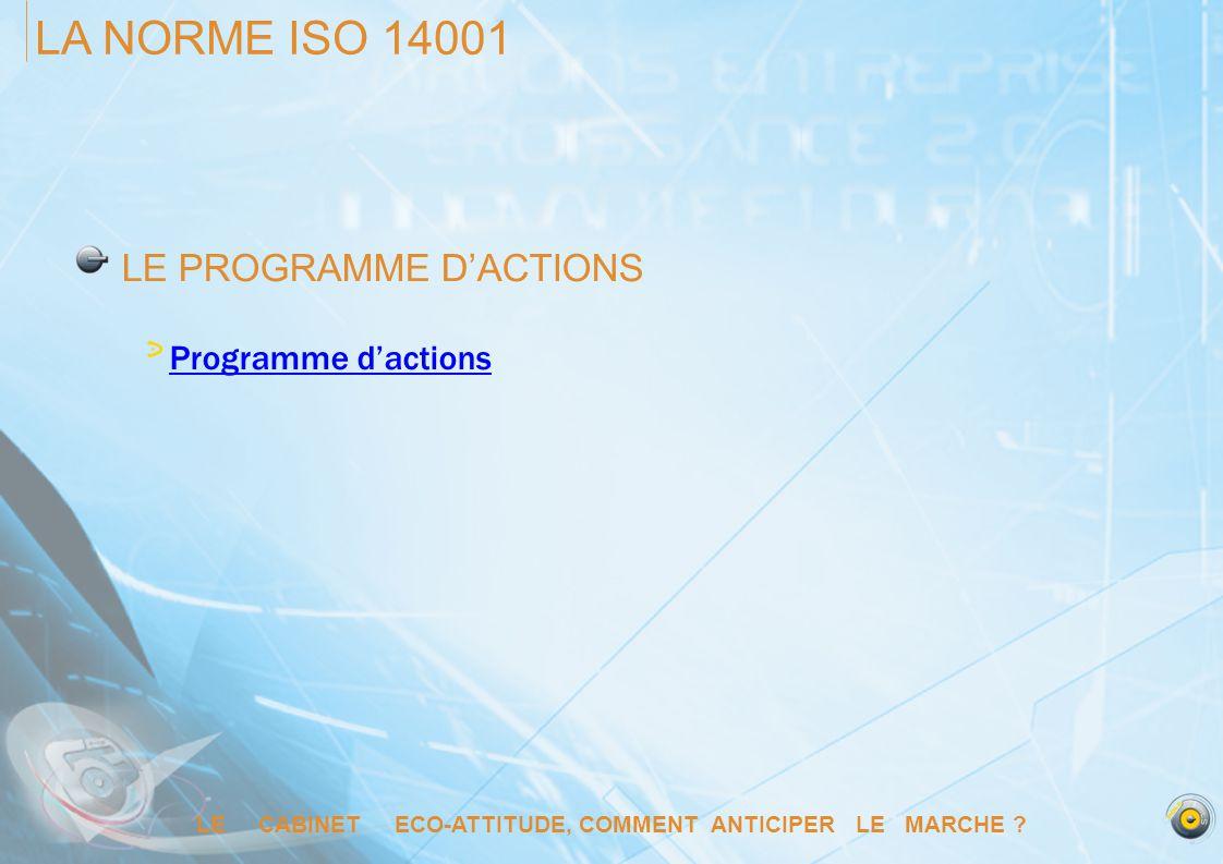 LE CABINET ECO-ATTITUDE, COMMENT ANTICIPER LE MARCHE ? LA NORME ISO 14001 LE PROGRAMME DACTIONS Programme dactions