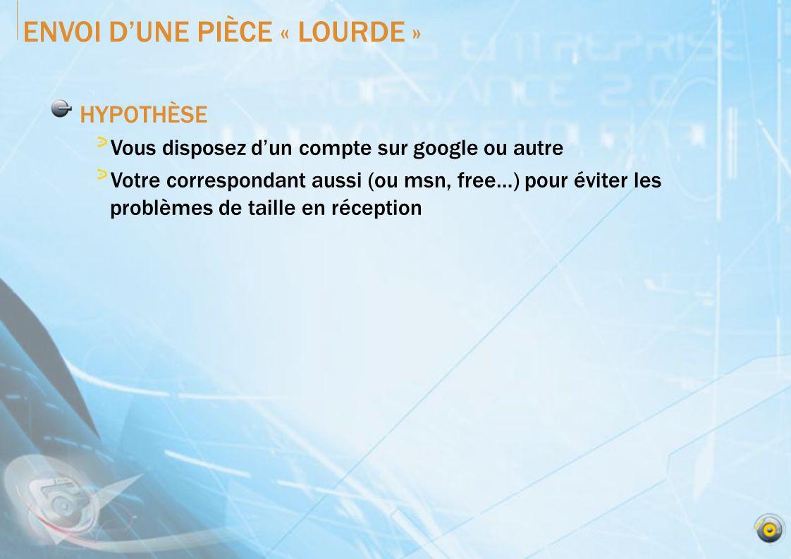 ENVOI DUNE PIÈCE « LOURDE » HYPOTHÈSE Vous disposez dun compte sur google ou autre Votre correspondant aussi (ou msn, free…) pour éviter les problèmes