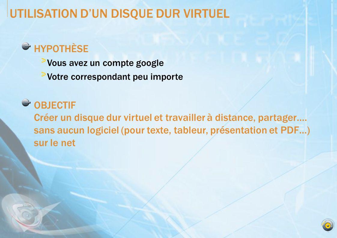 UTILISATION DUN DISQUE DUR VIRTUEL HYPOTHÈSE Vous avez un compte google Votre correspondant peu importe OBJECTIF Créer un disque dur virtuel et travailler à distance, partager….