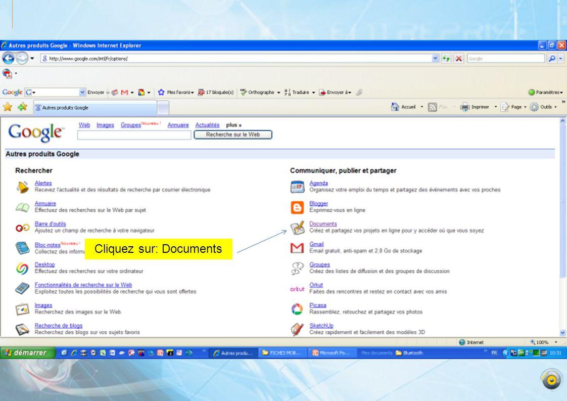 Cliquez sur: Documents