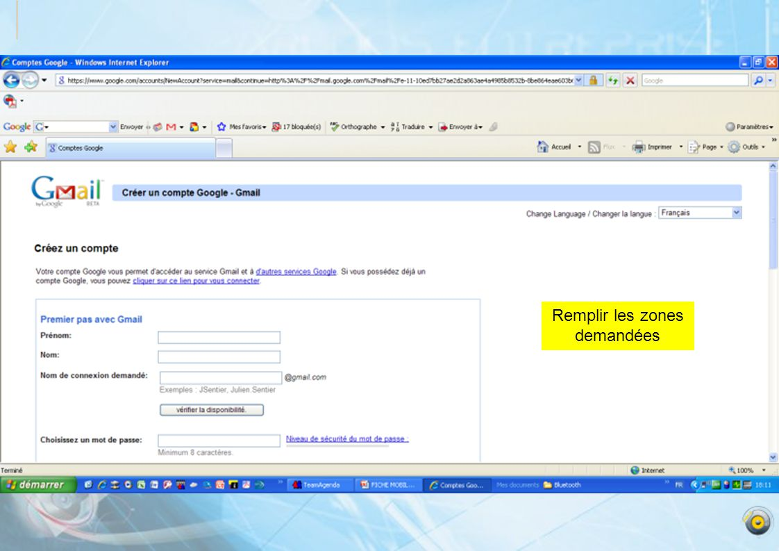 Limitation actuelle de google en taille de fichier pour stocker Pour les mails aucune limitation de taille Cliquez sur: Parcourir pour télécharger le fichier de votre ordinateur