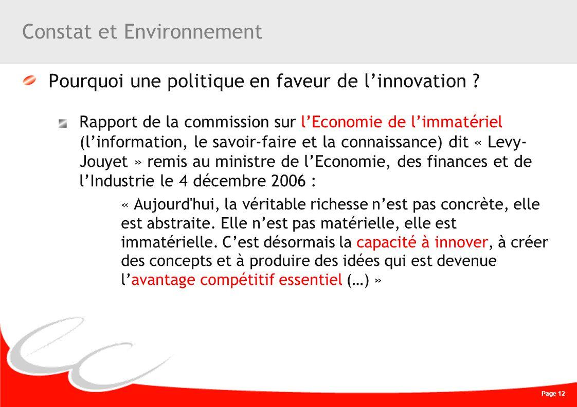 Page 12 Constat et Environnement Pourquoi une politique en faveur de linnovation ? Rapport de la commission sur lEconomie de limmatériel (linformation