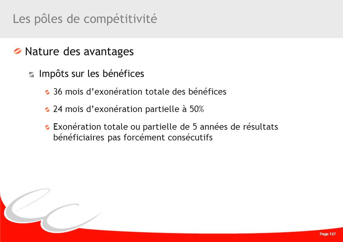 Page 127 Les pôles de compétitivité Nature des avantages Impôts sur les bénéfices 36 mois dexonération totale des bénéfices 24 mois dexonération parti