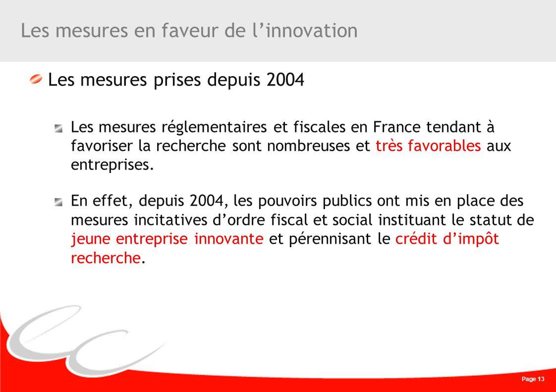 Page 13 Les mesures en faveur de linnovation Les mesures prises depuis 2004 Les mesures réglementaires et fiscales en France tendant à favoriser la re