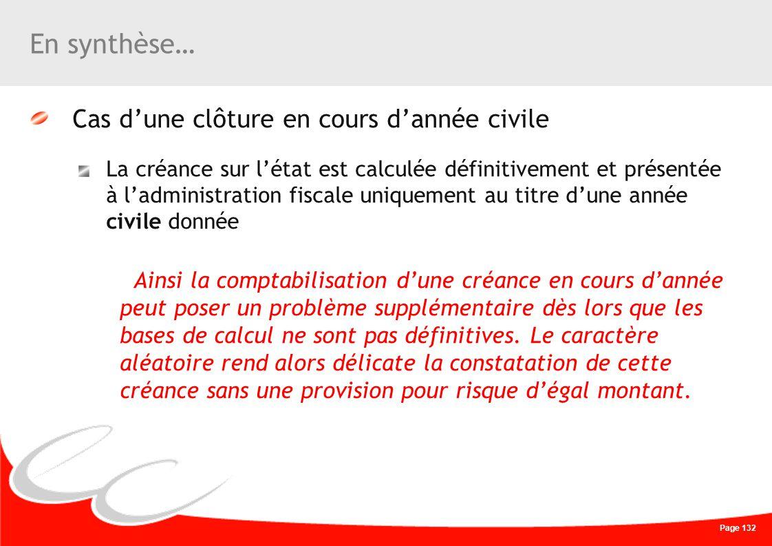 Page 132 En synthèse… Cas dune clôture en cours dannée civile La créance sur létat est calculée définitivement et présentée à ladministration fiscale