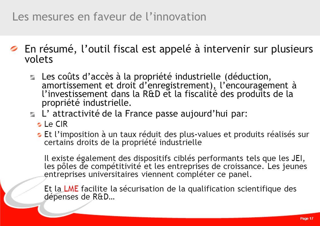 Page 17 Les mesures en faveur de linnovation En résumé, loutil fiscal est appelé à intervenir sur plusieurs volets Les coûts daccès à la propriété ind