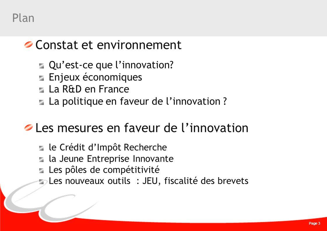 Page 3 Plan Constat et environnement Quest-ce que linnovation? Enjeux économiques La R&D en France La politique en faveur de linnovation ? Les mesures
