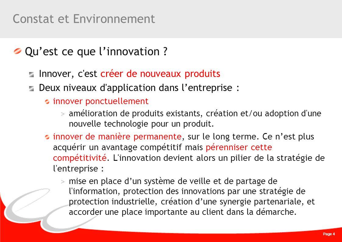 Page 4 Constat et Environnement Quest ce que linnovation ? Innover, c'est créer de nouveaux produits Deux niveaux d'application dans lentreprise : inn